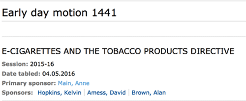 E-cigarettes Early Day Motion