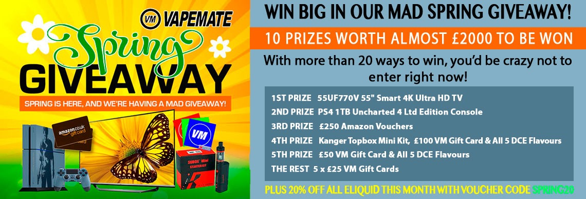 Vapemate's 2016 Spring Giveaway features 10 prizes worth more than £1800 to be won. With more than 20 ways to win, you'd be crazy not to enter right now!